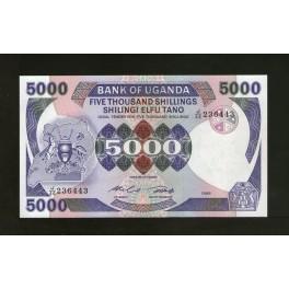 Uganda Pick. 24 5000 Shillings 1986 SC