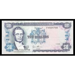 Jamaica Pick. 71 10 Dollars 1985-94 EBC