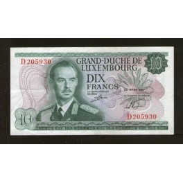 Luxemburgo Pick. 53 10 Francs 1967 EBC